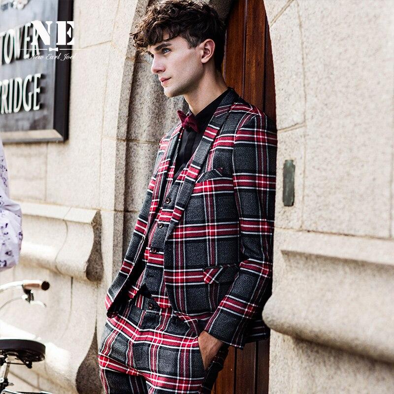 Brand Men's Clothing 2016 New Plaid England mens suit jackets mens formal wedding suit coat stage suit men single button suit - 3