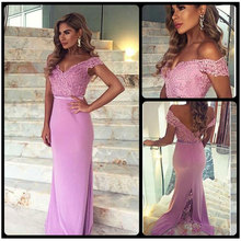 Two Straps Lace Chiffon Bridesmaid Dresses Skirt Train Appliques Blush Pink Mermaid Formal Party Prom Gown Dresses