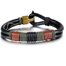 Vintage Copper Alloy Genuine PU Leather Bracelet Trendy Charm Bracelets & Bangles For Cool Men's Fashion Accessories Jewelry