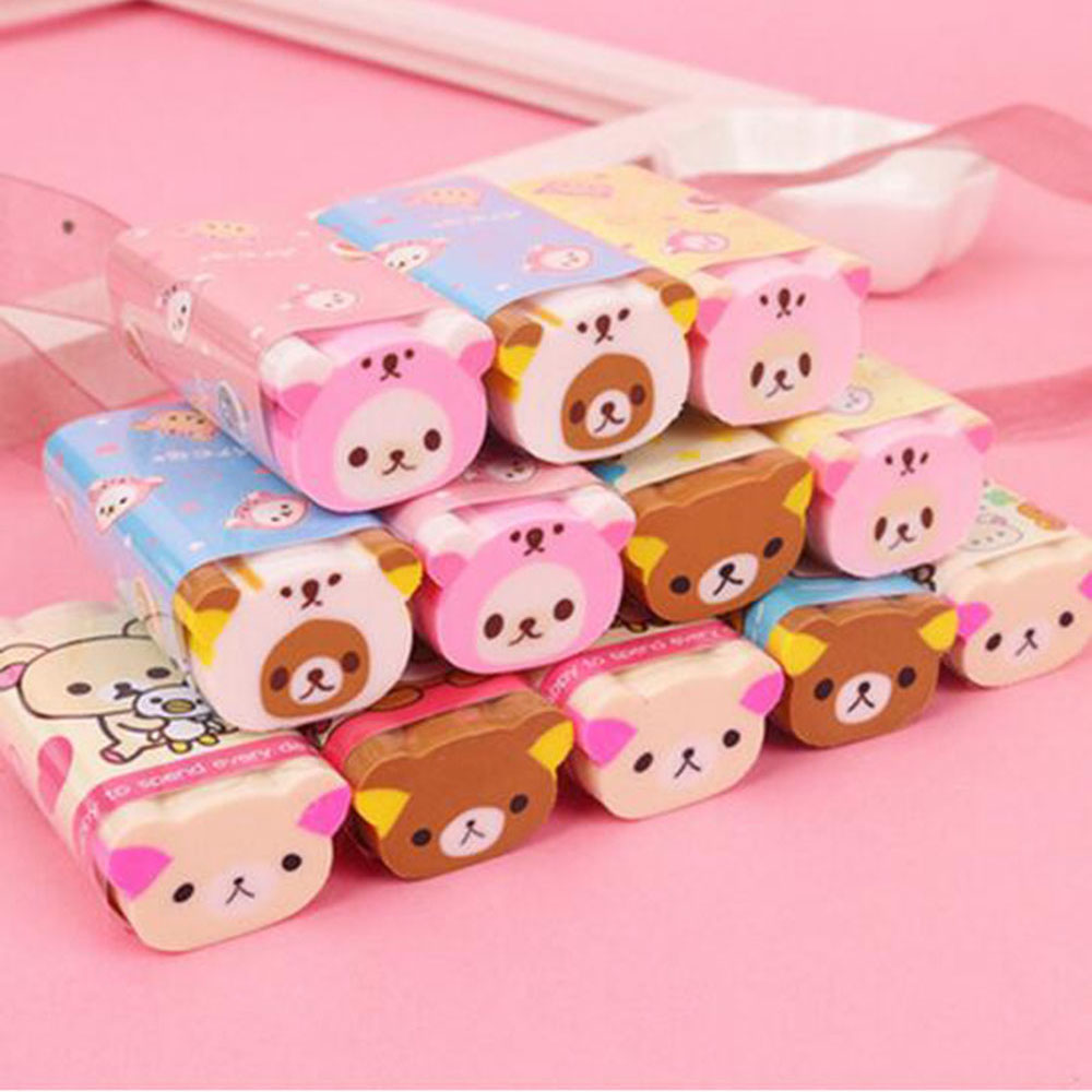 1PCS Cute Smile Bear Eraser Rubber Erasers Correction School Office Supply Student Stationery
