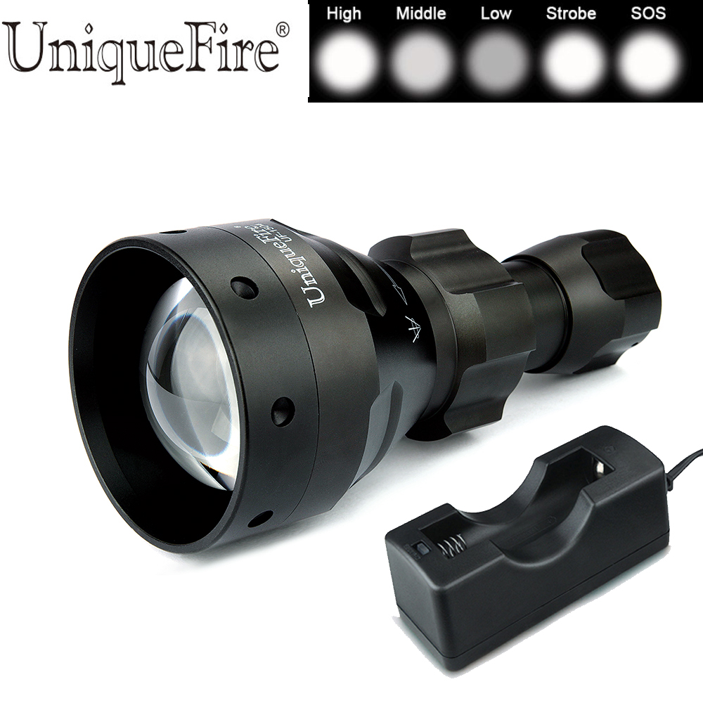 UniqueFire 26650 Flashlight UF-1504 CREE XP-E Zoomable 3 Modes High Quality Military Tactical Flashlight Torch+Charger uniquefire uf 1404 4 cree xp l led high power flashlight 3 modes 4000 lumen 4 xp l led torch for camping hiking