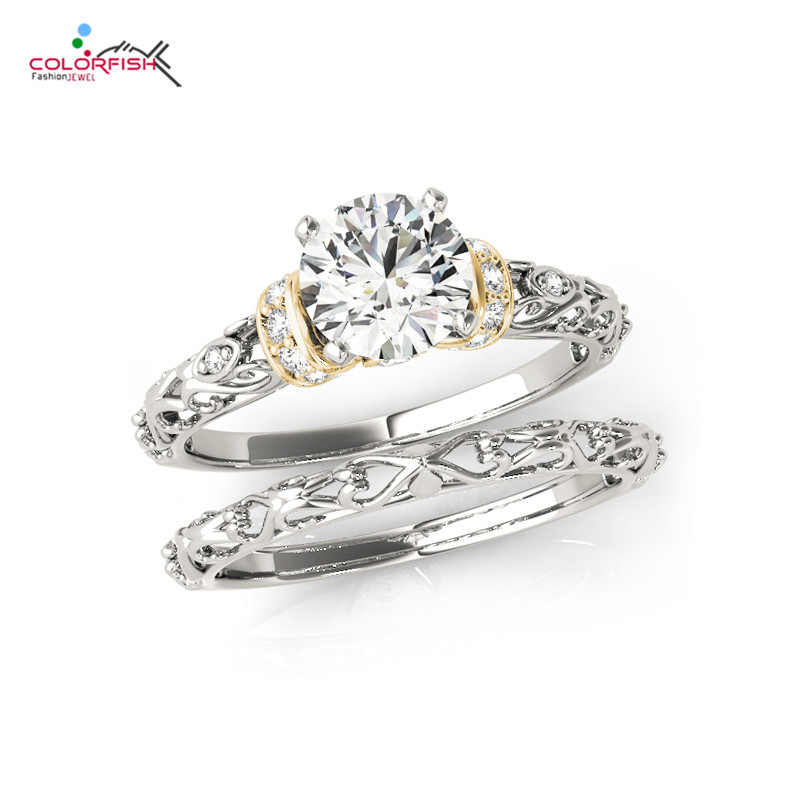COLORFISH Round Cut 0.75 Carat Cubic Zirconia Wedding Band Solitaire Engagement Ring Bridal Sets Genuine 925 Sterling Silver