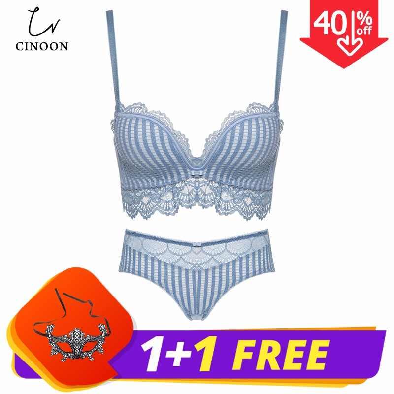 718e551125d CINOON 2019 New Lace Lingerie Bra Set Women Sexy Bra Set Push Up Bras  Underwear Sets