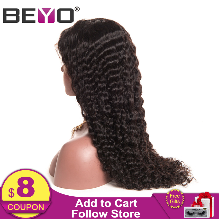 Beyo Lace Front Human Hair Parykker For Black Women Malaysisk Deep Wave Lace Front Paryk Pre Plucked With Baby Hair Remy Lace Paryk