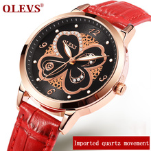 relogio feminino OLEVS Fashion Women Watches Red Leather Ladies Watch Luxury Butterfly design Waterproof Wristwatch reloj mujer