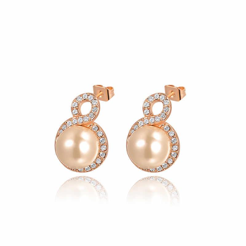 ROXI ROMAD מותג עלה זהב צבע עגיל פנינת עגילי לנשים אמיתי אוסטרי קריסטל מכתב 8 עגילי תכשיטים