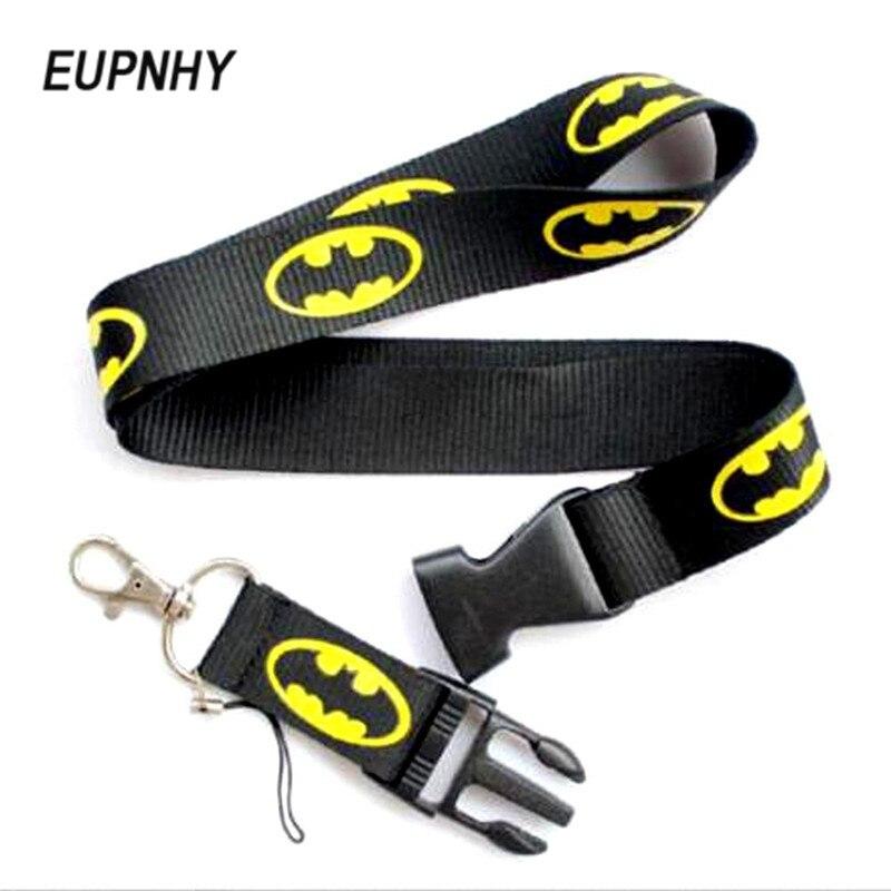 EUPNHY 1Pcs Batman Logo Cartoon Phone Strap Lanyard Detachable Car Keychain Cell Phone Neck Lanyard ID Badge Holder funny cell phone strap