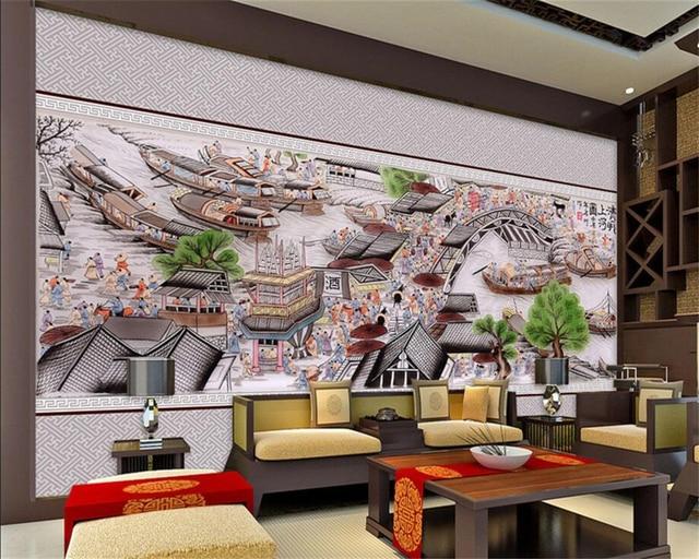 Beibehang Wallpaper Kustom Ching Ming River Peta Penuh Grafik Ruang Tamu Tv Latar Belakang Dinding