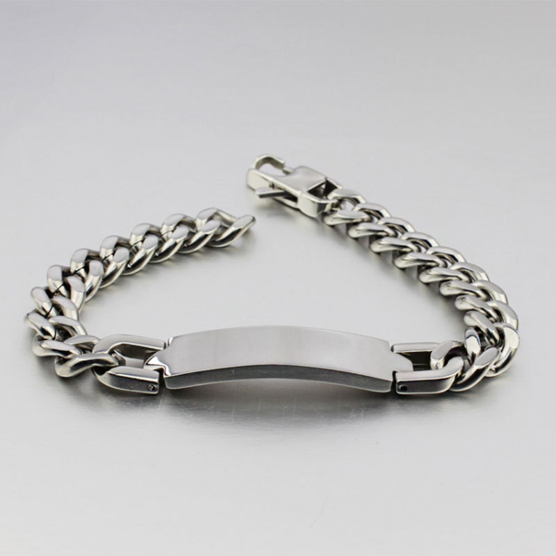 Id Bracelet For Men Jewelry Anniversary Gift Link Chain Stainless Steel Identification Bracelets 8 Mm Wide In From