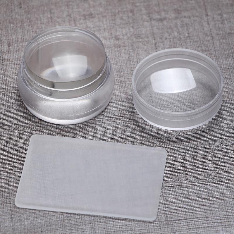 Clear Transparent Silicone Rubber Stamp For Nail Jelly Stamper Nail Art Stamping Plates Tool With Scraper Stencils For Nails in Nail Art Templates from Beauty Health