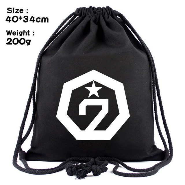Idol star BTS around 21 GOT7 exobiology canvas contracted draw string bag  backpack beam