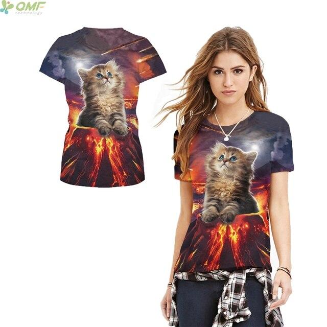 Interesting Flame Cat T-shirt Casual Short Sleeve O-Neck Tops Volcano  Eruption Fashion Women Clothes Harajuku Punk Rock Tee 2017 17326708d
