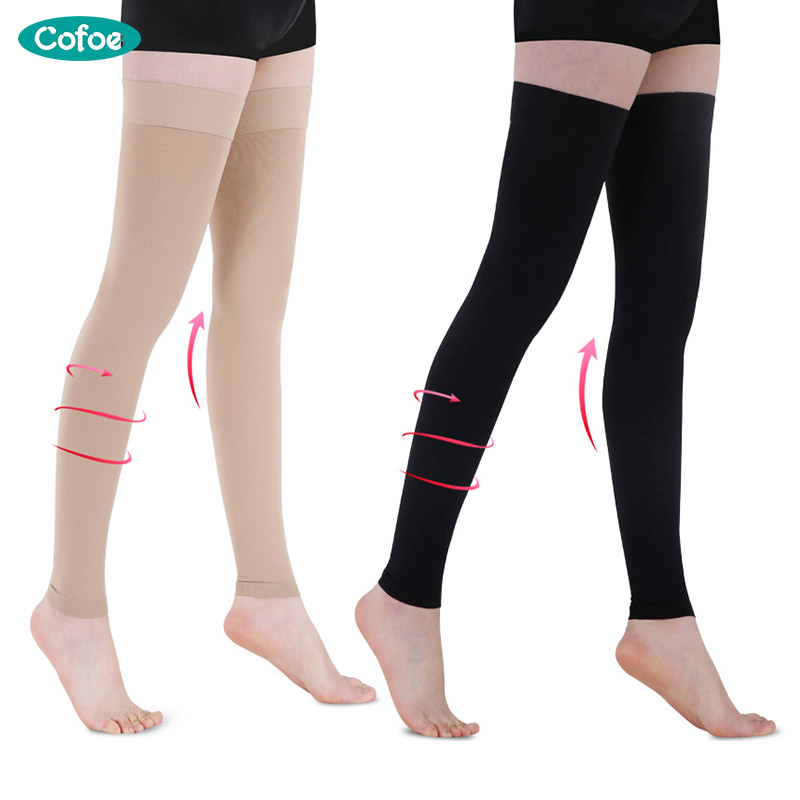 Cofoe A Pair Compression Stockings Varicose Veins Socks 23-32mmHg Pressure Level 2 Thigh Medical Anti-Fatigue Socks Unisex 1 pair compression socks for men women sports stockings for running crossfit travel flight medical nursing varicose veins
