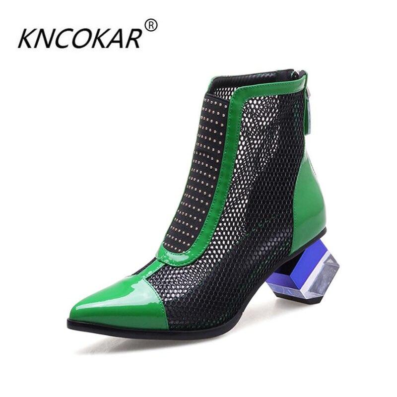 2018 KNCOKAR летом прохладно новые кожаные ботинки женские Ботинки на толстых высоких каблуках сандалии Баотоу из сетки пряжи с сандалии сапоги