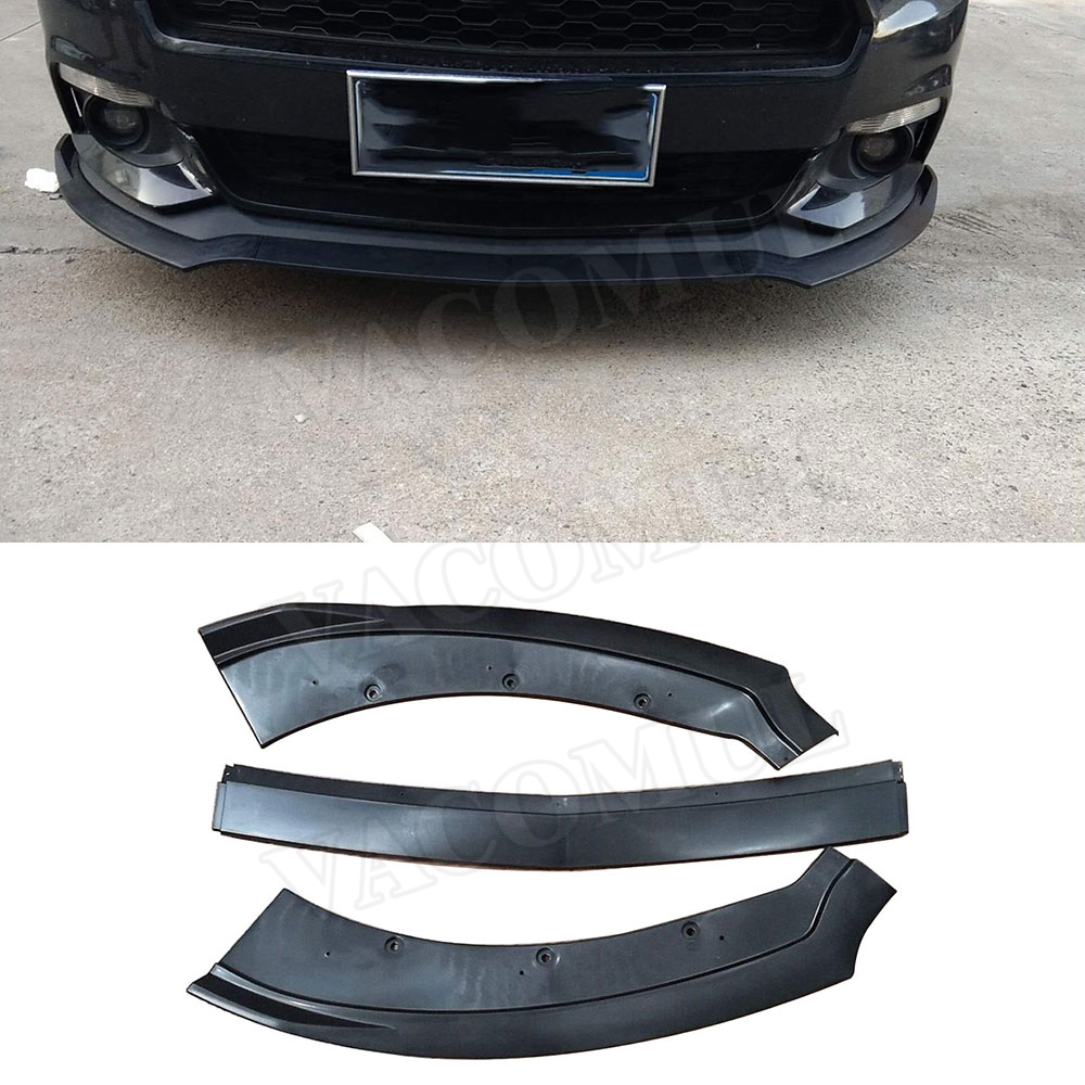 3pcs Gloss Matt black PP Front Bumper Lip Spoiler Splitters Body Kits for Ford Mustang Coupe 2015 2016 2017