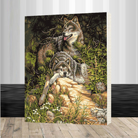 Assembly Frame Home Wolves Paint By Number Family DIY Canvas Oil Painting Framed Pictures Painting By