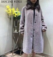 Для женщин длинные Натуральная шерсть ягненка шуба короткая овечья шерсть куртка с реального норки меховой воротник зимняя куртка Для женщ