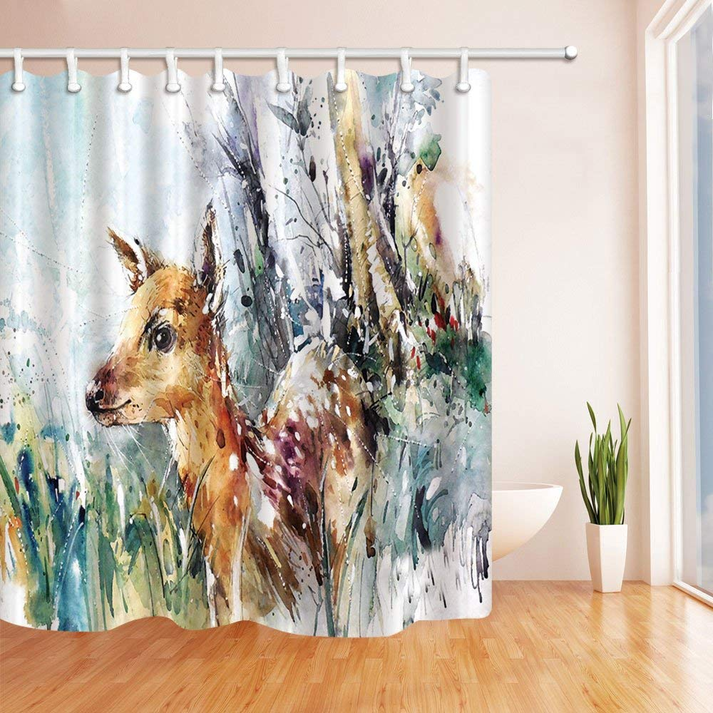 Watercolor Deer Bath Curtain Polyester Fabric Waterproof Shower