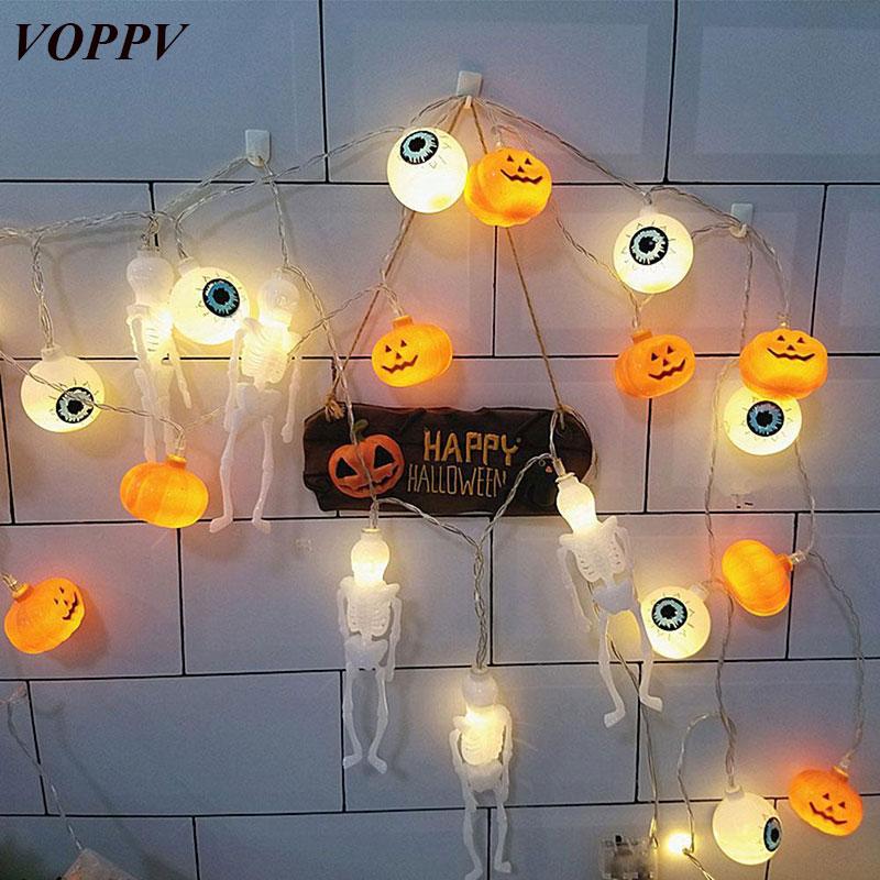 VOPPV LED Helloween Light Fairy String for Garland Gerlyanda Strings Pumpkin/Ghost/Ghost Eye/Spider/ Bat/Skull LED Light Decor цена 2017