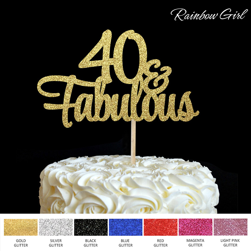 40 Fabulous Cake Topper 40th Birthday Party Decor Many Colors Glitter Picks Decorations Supplies