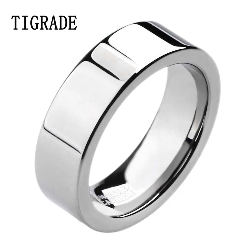 6mm high polished mens tungsten ring male wedding band for women flat tungsten carbide ring engagement - Male Wedding Ring