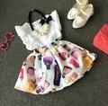 Ребенок твердых хлопок свободного покроя футболки дети девушки принцесса шаблон мини-юбки печать 2 шт. 2016 лето мода детская одежда 5 компл./лот