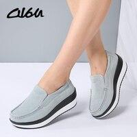 O16U Spring Women Flats Platform Loafers Shoes Female Suede Leather Casual Shoes Slip On Flats Elegant