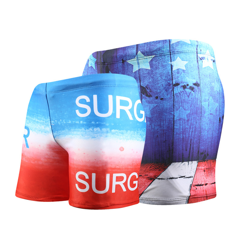 Summer Mens swimming trunks New arrival Beach swimming shorts Sandy beach Flags printing color Obesity shorts A18142