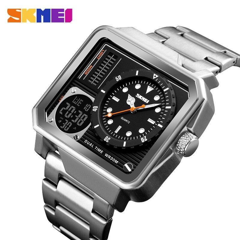 1392 skmei 男性の腕時計ホット販売ステンレス鋼バンド 5ATM 防水は、男性の多目的球メンズの led 腕時計  グループ上の 腕時計 からの デジタル腕時計 の中 1