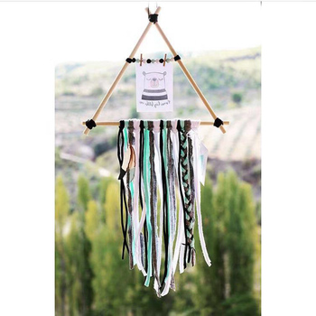 Scandinavian Wall Hanging With Tassel Nordic Wood Wind Chimes Dreamcatcher Photo Frame with Rope Clips Hanger Kids Decoration