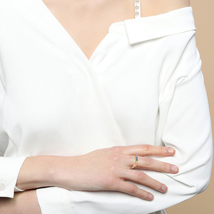 Image 5 - E אמיתי סטרלינג כסף 925 קשת טבעת נשים של צבע מעוקב Zirconia טבעות 14K זהב מצופה נצח חתונת טבעות תכשיטים