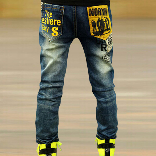 Warm Jeans Kids Famous Brand New 2015 Kids Boys Jeans Pants Straight Print  Trousers Bottoms Larger Boys Size Warm Jeans