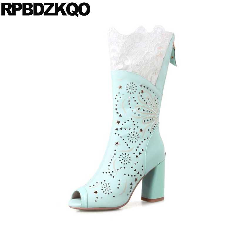 f0bf49c8c25 ... Cut Out Genuine Leather Peep Toe Sandals Cutout Summer High Heel Women  White Wedding Boots Chunky ...