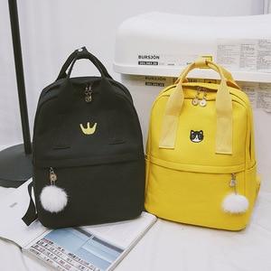 Image 5 - New Cute Canvas Backpack Fashion Women Backpack For School Teenagers Girls Big Capacity Yellow Travel Bag Female Bookbag Mochila