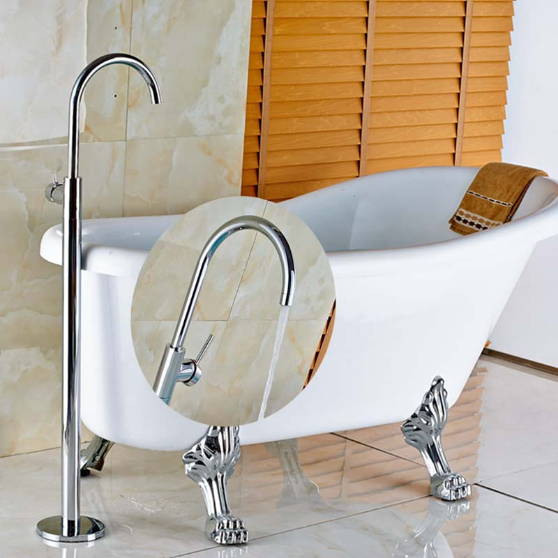 Single Handle Chrome Brass Tub Faucet Floor Mounted Tub Filler Hand Sprayer Tap