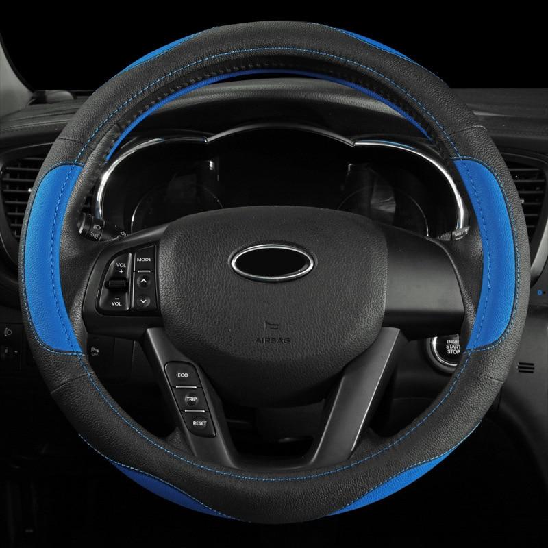 38cm PU Leather Car Steering Wheel Cover For Ford Focus BMW Volkswagen Toyota Mercedes Renault KIA Skoda Opel Peugeot Mazda Audi 1set automobiles exhaust pipe modification car refitting for bmw vw audi opel ford renault toyota honda nissan lada mercedes kia