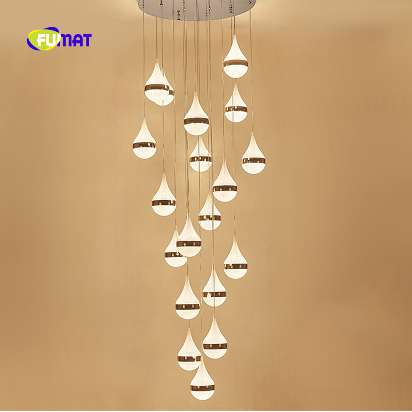FUMAT Modern Gold Water Drop Brushed K9 Crystal Stainess Steel LED Pendant Lighting Luxury Clear Lamp For Dining Room Foyer vallkin modern round led pendant light clear k9 crystal and silver stianless steel d40cm 18w ce fcc rohs