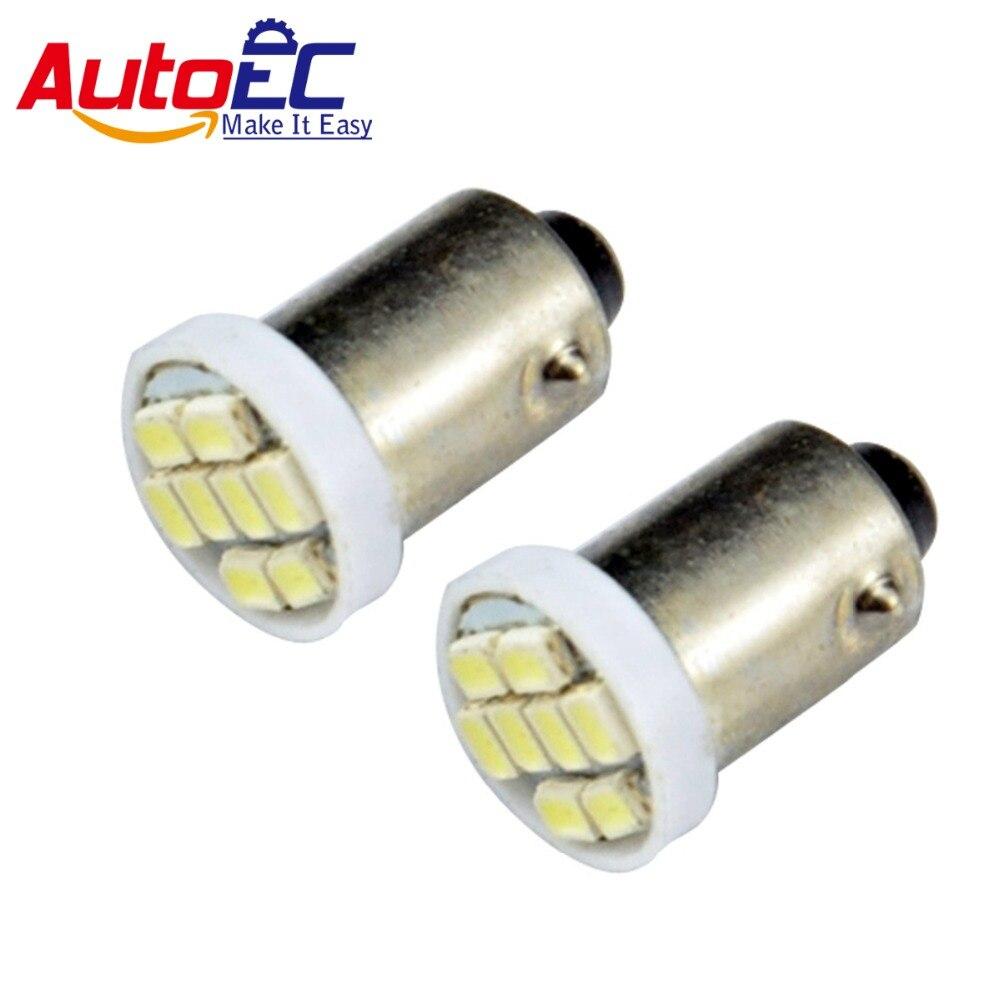 AutoEC 100X BA9S 1206 8smd led H6W W6W T11 T4W 6523 1895 Car license LED Light Bulb Lamp white red blue green yellow #LG13