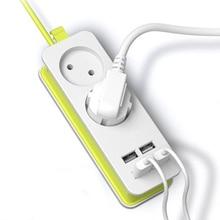 EU Plug Power Strip 2 AC Plug Travel Adapter 1200W Multiple Portable 4 USB Port Charger Socket 1.5m