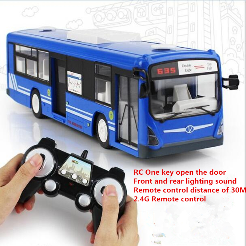 A large school bus remote control car 2.4G electric door and horn car model toy Simulation light Sound Simulation RC bus цена