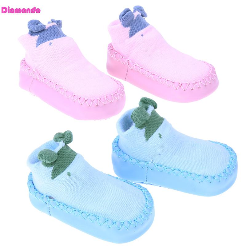 Newborn Baby Boy Girl Floor Socks Shoes Non Slip Warm Cotton Slippers Toddlers Leather First Walker Patch Shoes Baby Moccasins