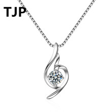 TJP Fashion Heart Shaped Pendants Necklace Women  Wedding Engagement Party 925 Sterling Silver Shiny Crystal CZ Stones