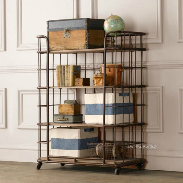 Loft American Country Retro Wrought Iron Wood Bookcase Shelves With Wheels To Do The Old Living