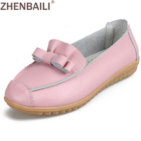 Discounts Genuine Leather Women Shoes 2016 Summer Fashion Breathable Slip On Casual Shoes Bowknot Printed Flat