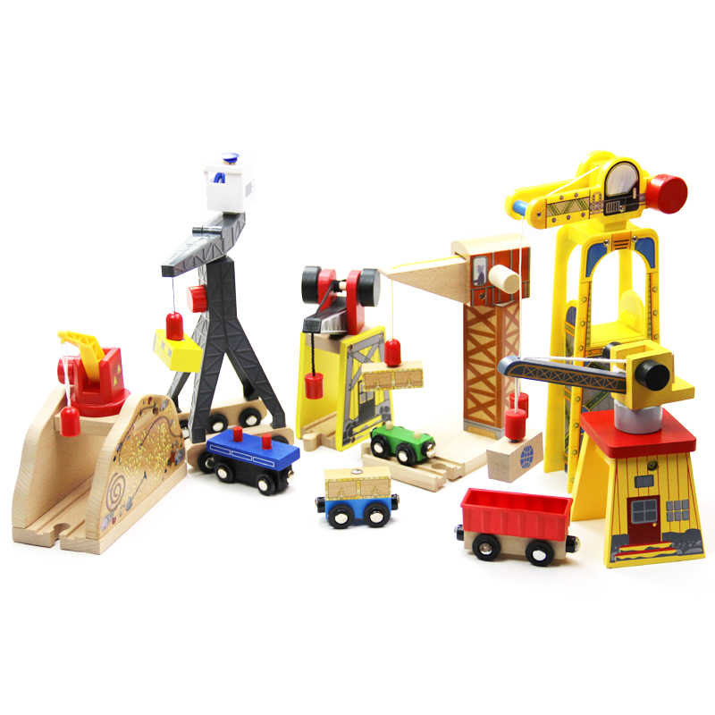 EDWONE -All Crane Track One Set Move Crane Tender Wooden Train Collectable Toy Railway Accessories For Thomas Brio