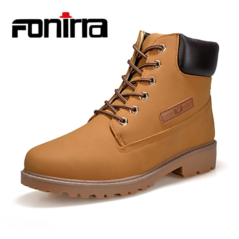 FONIRRA Men Fashion Boots Snow Autumn And Winter Ankle Boots  Men Shoes Lace Up Warm Leather Men Boots Work Plus Size 36-46 724 qiyhong brand waterproof winter warm snow boots men cow split leather motorcycle ankle fashion high cut male casual clearance