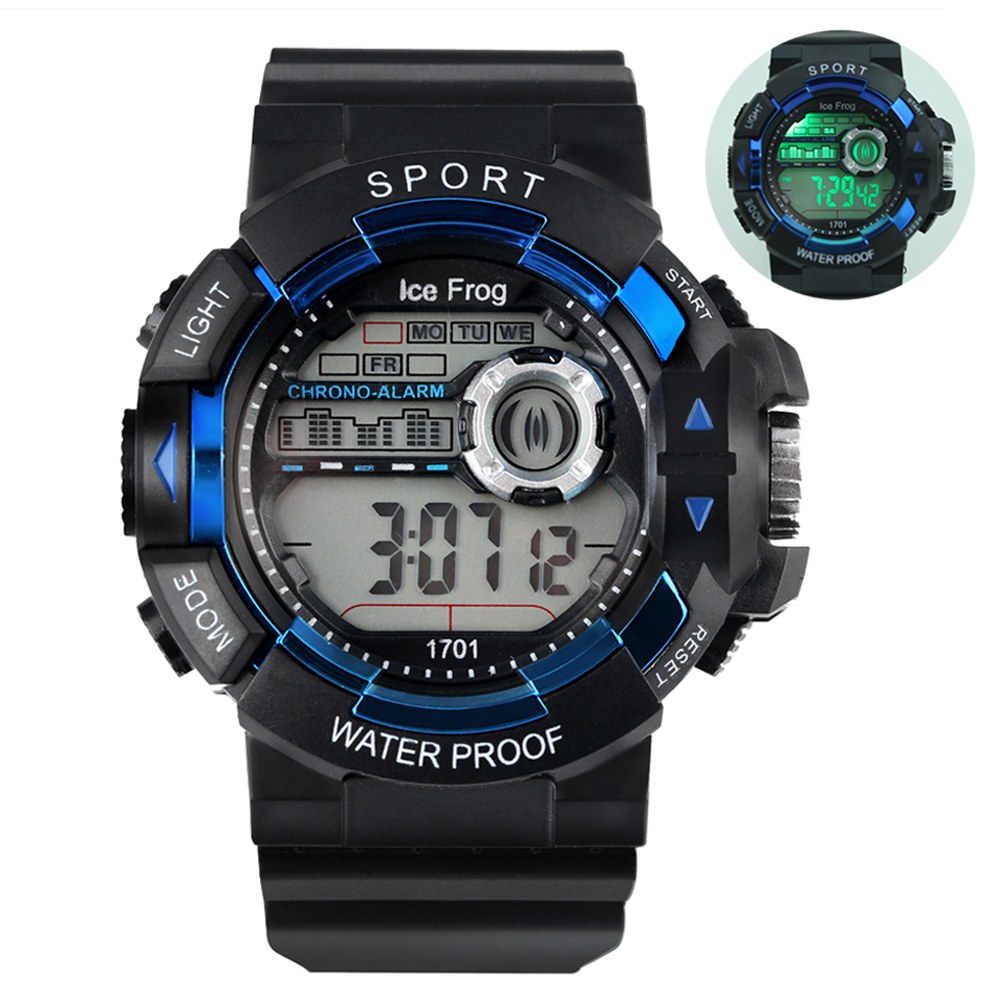 Digital Watch For Boys Blue Case LED Electronic Wristwatch Waterproof Sport Quartz Watches  Digital Watches Relogio Masculino