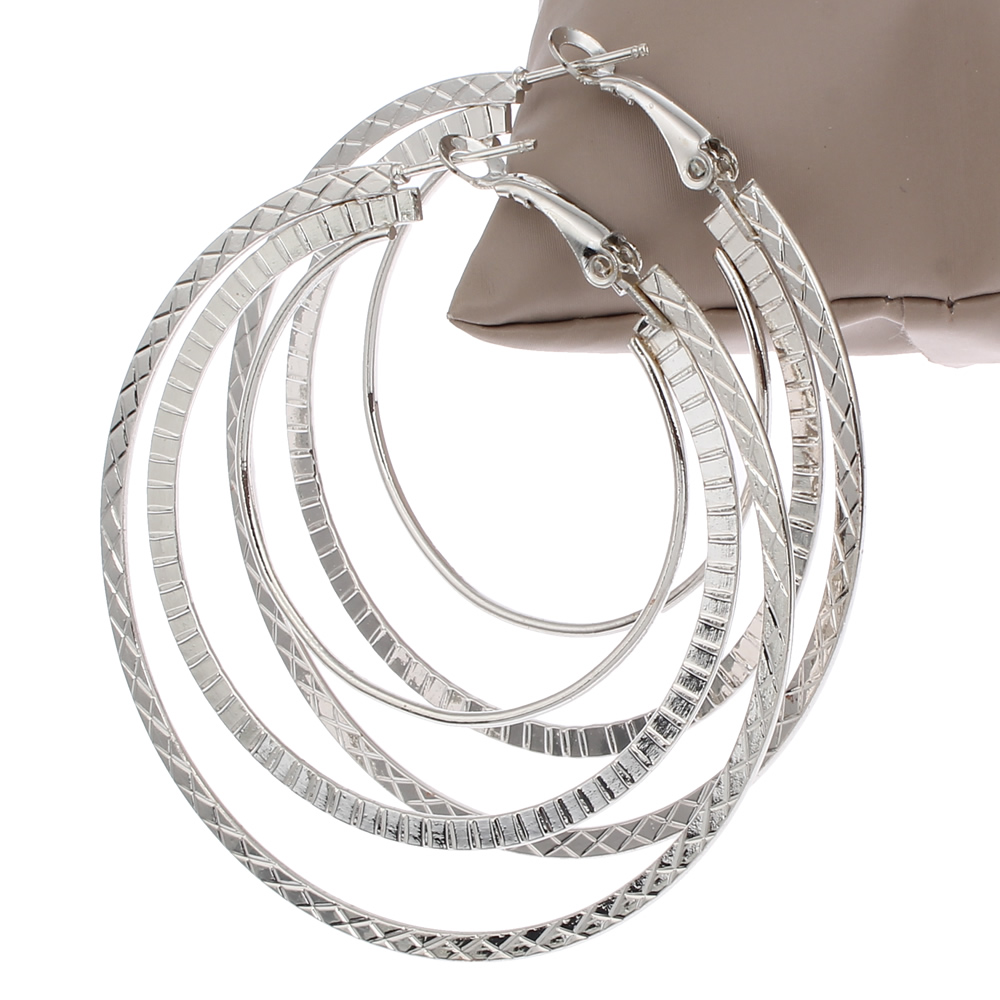 Fashion Big Circle Earrings Elegant Silver-plated Golden Plated Hoop Earrings Jewelry Basketball Wives Jewelry Christmas Gift