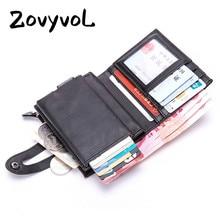 ZOVYVOL Slim Wallet PU Leather Holder RFID Blocking Mini Metal Automatic Pop up ID Credit Card Coin Purse Drop Shipping