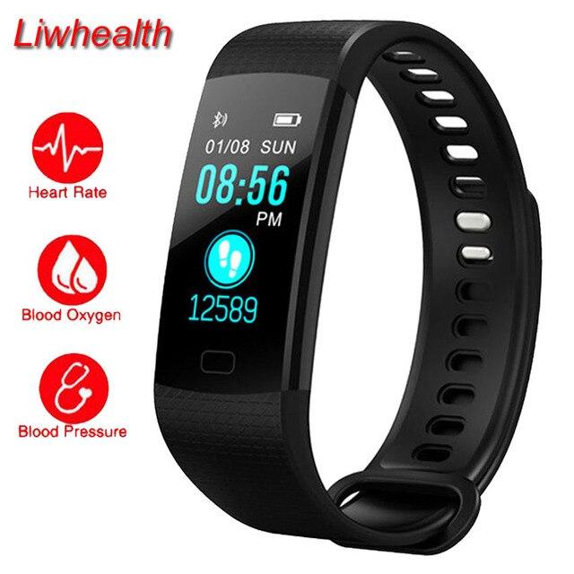 732e8436516 Faixa de Cor barato Relógio Inteligente da Frequência Cardíaca BP O2  Cardiaco Monitor de Atividade Rastreador Smartwatch Para iphone 7 Honor   Sony VS Seixos ...